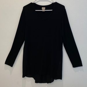 chicos 1 Top Tunic Long Sleeve Size M Hi/Low Black